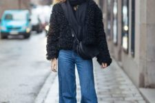 With black scarf, fur jacket, crossbody bag and lace up boots