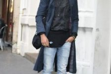 With black shirt, light blue jeans, white sneakers and navy blue trench coat