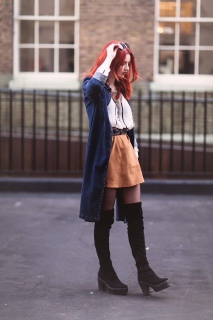 With blouse, suede mini skirt and navy blue coat