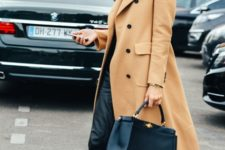 With camel midi coat, white sneakers and black tote