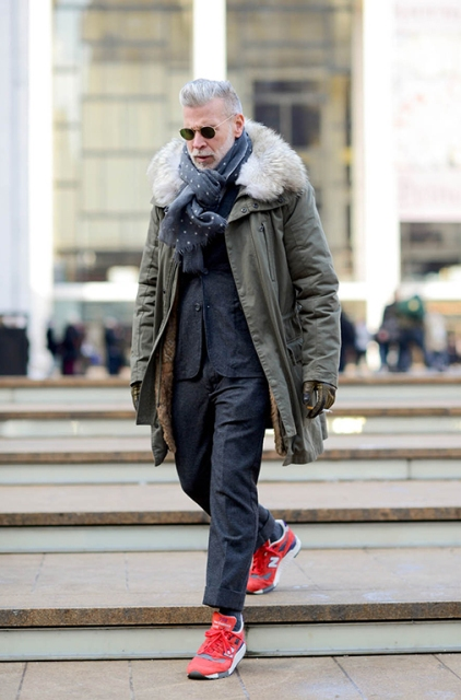 With dark gray jacket, staright trousers, red sneakers and printed scarf