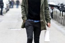 black pants outfit for fall or winter