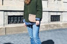 With denim shirt, green sweater, beige bag and leopard shoes