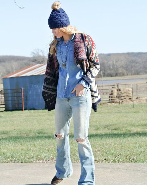 With denim shirt, loose cardigan and beanie