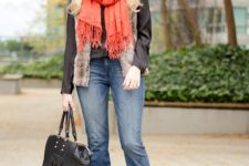 With fur jacket, orange scarf, gray shoes and black bag