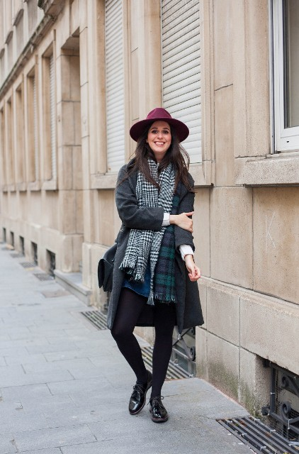 With gray coat, marsala hat, denim skirt and leather shoes