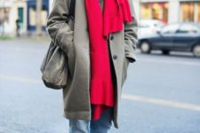 With gray coat, white sneakers, tote, red scarf and cap