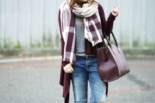 With gray shirt, distressed jeans, gray ankle boots, marsala cardigan and marsala tote