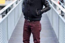 With gray shirt, marsala pants and marsala shoes