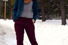 With gray sweater, velvet jacket, brown scarf and brown lace up boots