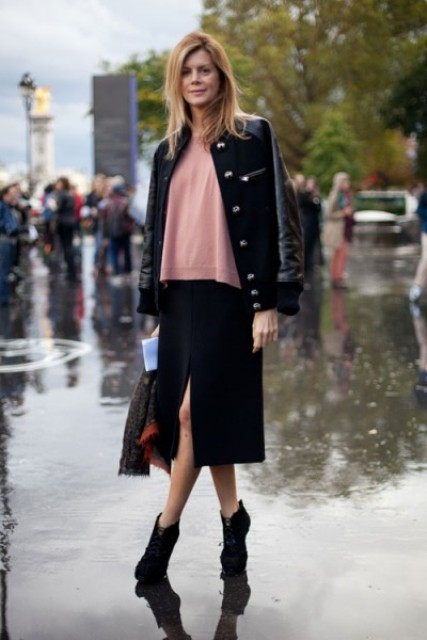 With loose shirt, midi skirt and black boots
