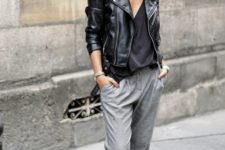 gorgeous jacket and sweatpants look for fall