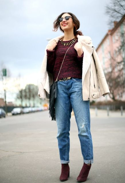 With marsala sweater, marsala ankle boots, shearling jacket and fringe bag