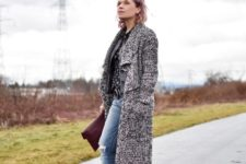 With midi coat, brown clutch and white boots