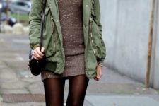 fall look with parka and ankle boots