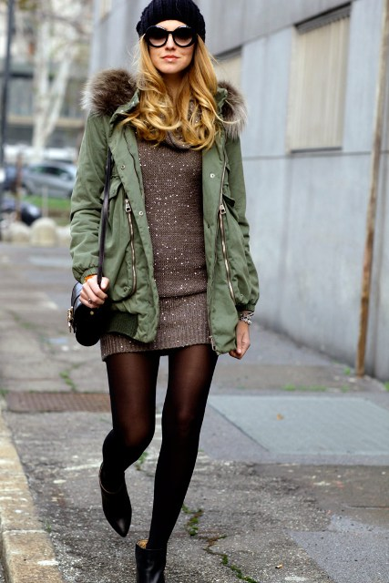 With mini sweater dress, beret, mini bag and ankle boots