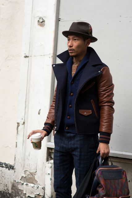 With navy blue cardigan, printed trousers, felt hat and backpack