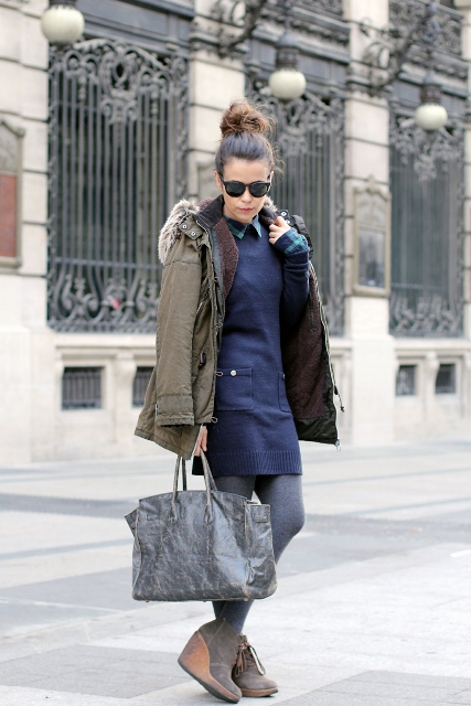 With navy blue dress, gray boots and tote
