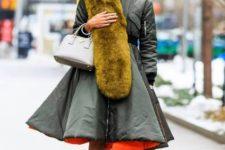 olive green coat winter-fall look