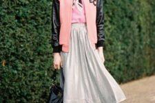 With pale pink shirt, midi skirt, black tights, metallic shoes and black bag