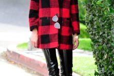 cute plaid plus leather look
