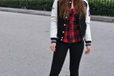 With plaid shirt, leggings, beanie and printed shoes