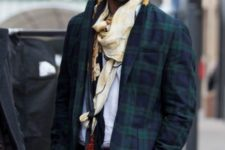 With plaid trousers, printed scarf and white shirt