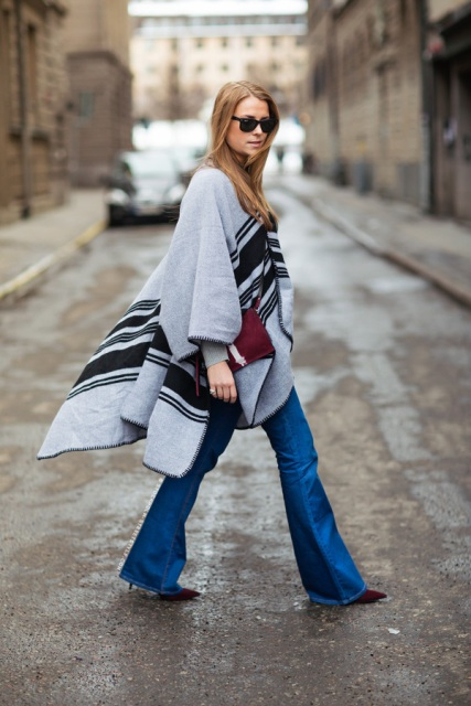 With printed cape and marsala shoes