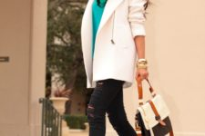 With printed scarf, white coat, distressed pants and leather bag