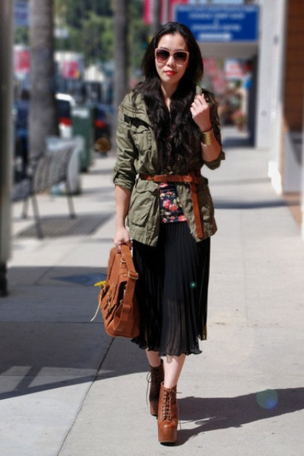 With printed shirt, midi skirt, brown bag and olive green jacket