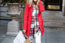 With red fur parka, white beanie, white pants and brown ankle boots