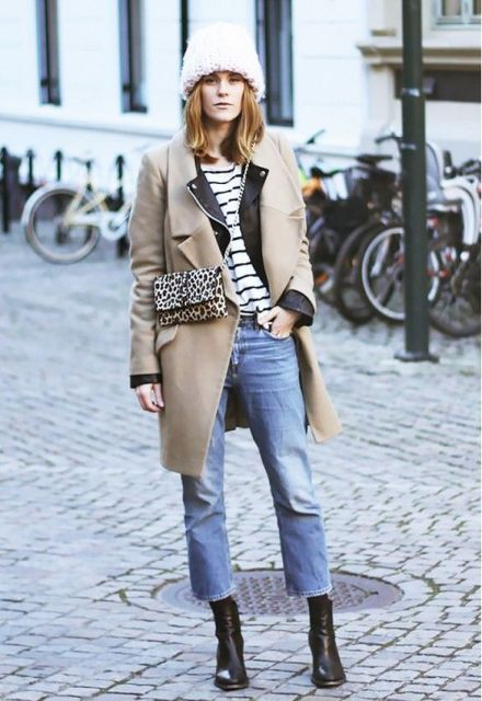 With striped shirt, beige coat, beanie, leopard chain strap bag and ankle boots