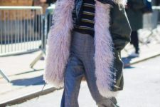 With striped shirt, plaid wide-leg pants, white shoes and beanie