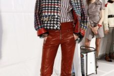 With striped shirt, printed jacket and animal printed shoes