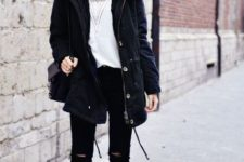 winter look with distressed pants