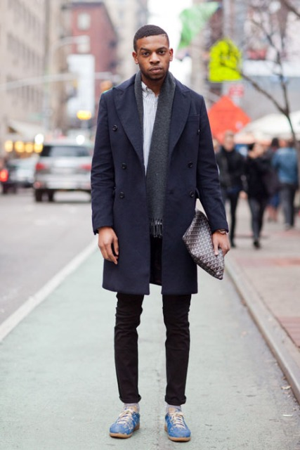 With white button down shirt, gray scarf, navy blue coat, light blue shoes and clutch