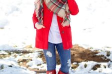 With white shirt, jeans, red high boots, white beanie and red coat