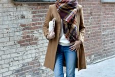 stylish winter look with a plaid scarf