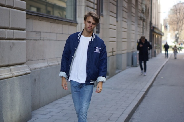 With white t-shirt and straight jeans