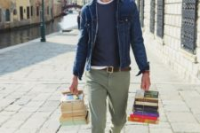With white t-shirt, navy blue shirt, denim jacket and brown shoes
