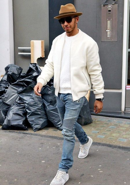 With white t shirt, white jacket, jeans and white sneakers