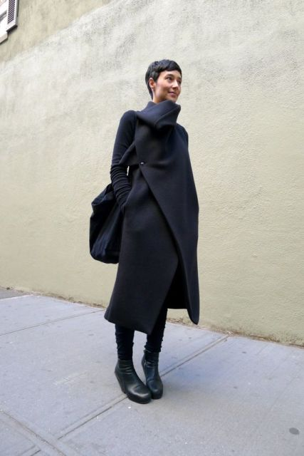 Wrap coat with black pants, boots and tote