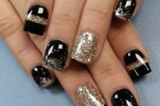 02 black and gold leaf party nails for New Year, a timeless combo
