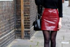 03 a black long sleeve top, a red leather mini skirt and black booties for a sexy look