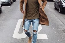 03 a brown tee, a camel coat, beige boots and ripped blue jeans