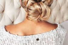 03 a comfy updo with two braids and a low bun looks cute and casual