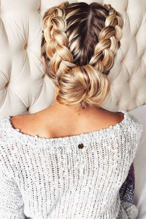 a double braid updo with a low bun will last as long as you need