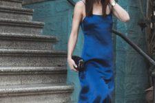 slip dress in navy color