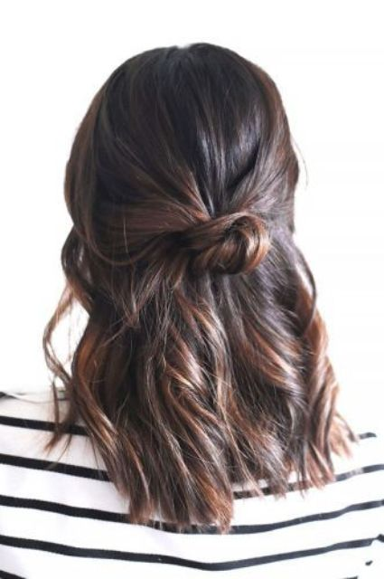 a twisted half updo with messy hair will take just a couple of minutes to make