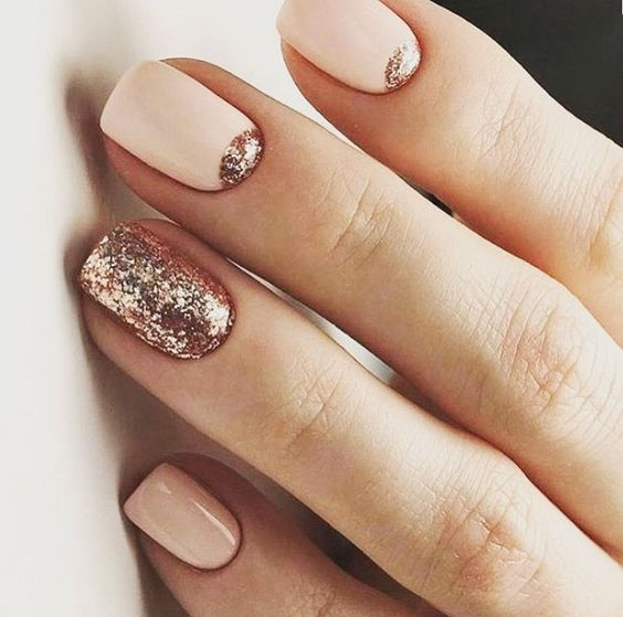 Picture Of blush nails with rose gold half moons and a whole rose ...
